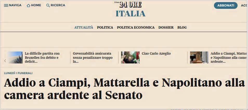 Addio a Ciampi, Mattarella e Napolitano alla camera ardente al senato