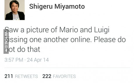 Saw a picture of Mario and Luigi kissing one another online. Please do not do that