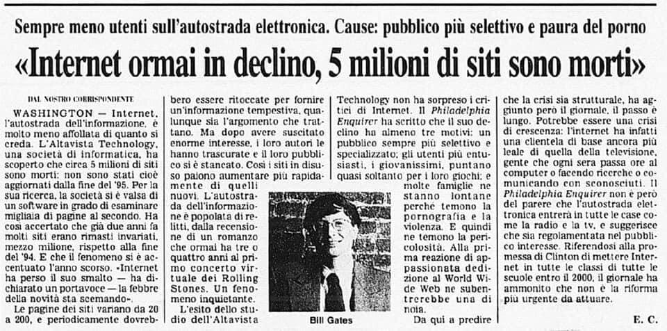 Internet ormai in declino, Corriere della Sera, 12 marzo 1997