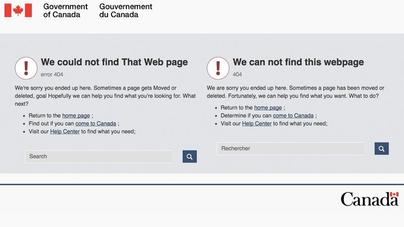 Canada: we could not find That Web page