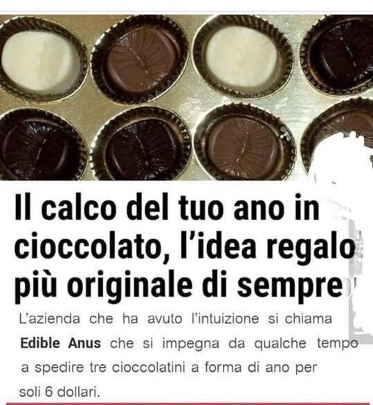 Il calco del tuo ano in cioccolato