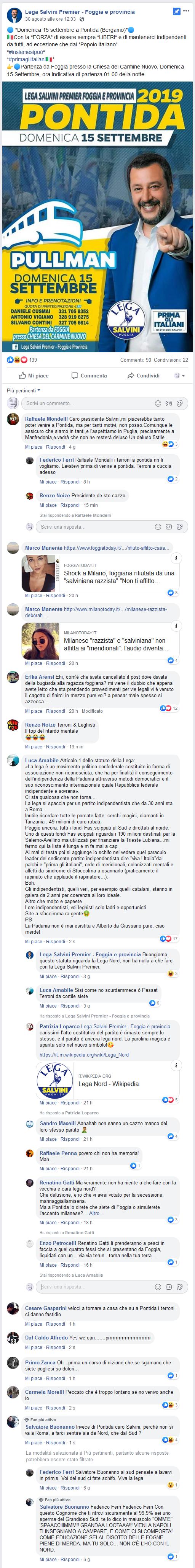 Salvini bus Foggia Pontida