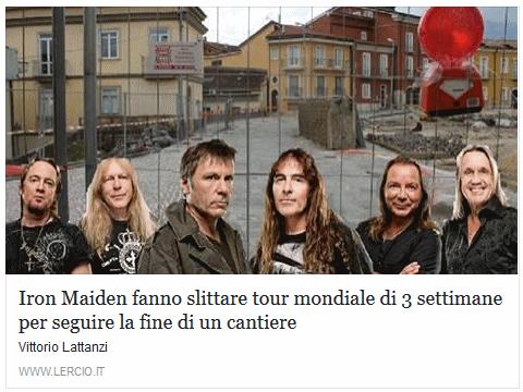 Iron Maiden fanno slittare tour mondiale di 3 settimane per seguire la fine di un cantiere