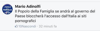 il popolo della famiglia se andrà al governo del paese bloccherà l'accesso dall'Italia ai siti pedopornografici