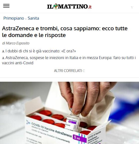 Astrazeneca e trombi
